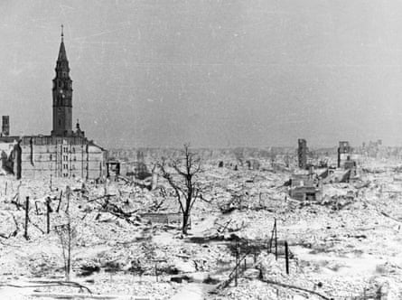 Warsaw, Poland in ruins at the end of world war ll in 1945.