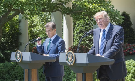 South Korean President Moon Jae-in with Donald Trump at the White House, where they discussed the North Korean regime.