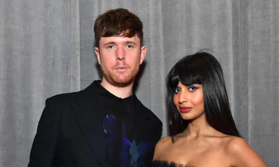 With her boyfriend, James Blake.