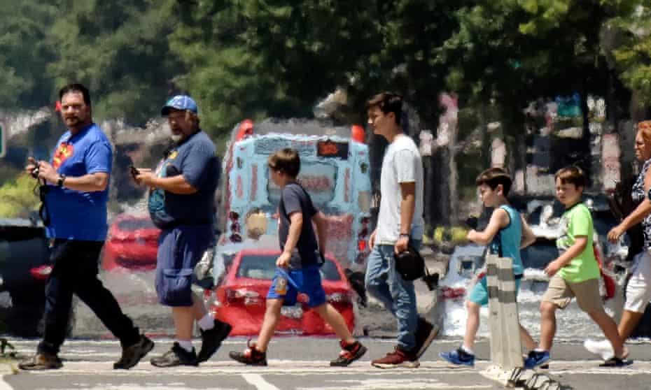 Heat radiates from Pennsylvania Avenue, Washington, DC during July's heatwave.