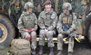 Royal Army Medical Corps medic Corporal Vicky Helsby; Royal Wessex Yeomanry Tank Gunner reservist Lance Corporal Kat Dixon; and Royal Army Veterinary Corps Dog Handler Private Beth Johnson.