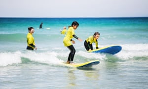 A lesson at St Ives Surf School