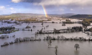 A rainbow appears over flooded fields in the Wye Valley, near the hamlet of Wellesley, following Storm Dennis on 17 February 2020 in Hereford, UK.