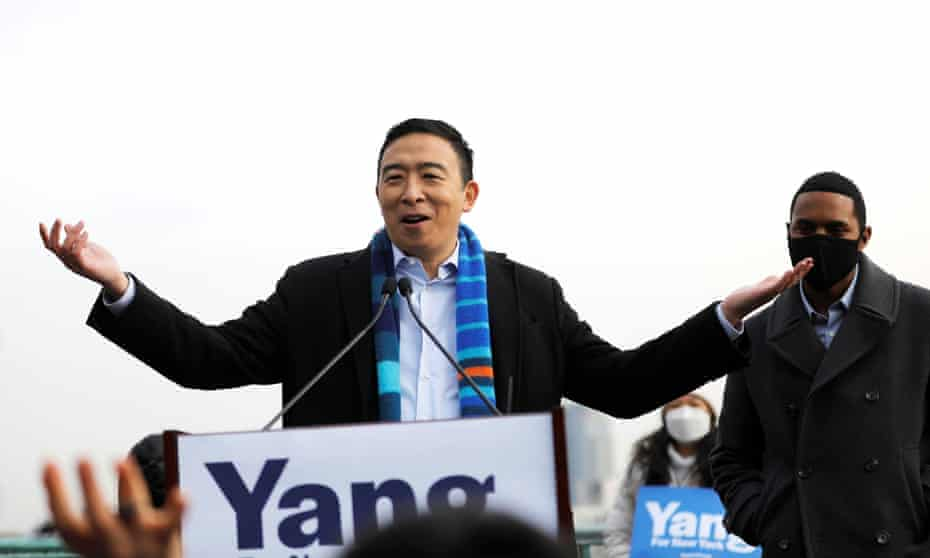 Andrew Yang announces his candidacy in upper Manhattan on Thursday. Yang is entering a crowded field of about a dozen mayoral candidates.