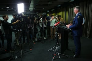 Mike Bush, New Zealand's police commissioner, addresses the media at the Royal Society Te Apārangi in Wellington
