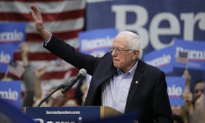 Bernie Sanders after speaking at a rally in Council Bluffs, Iowa, on 7 March.