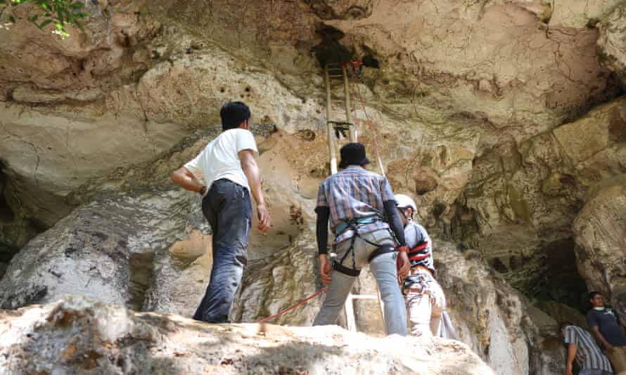 Archaeologists in cave