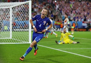 Perisic celebrates as Croatia now lead the group.