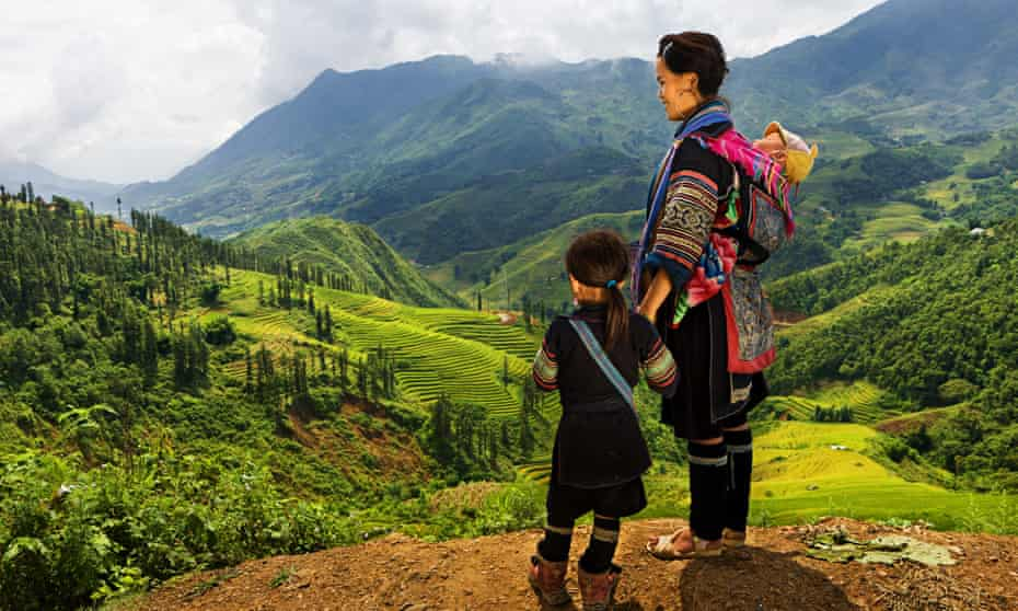 A woman and child from the Black Hmong Hill Tribe