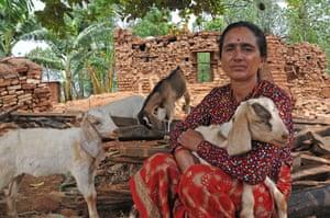 Apsara Gajureal with her goats