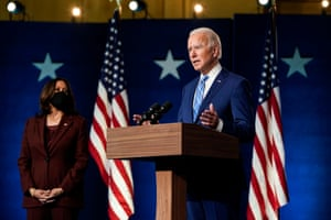 Joe Biden, joined by Kamala Harris, speaks one day after Americans voted in the presidential election.