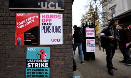 A picket line at University College London.