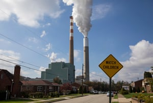 Smoke rising from the Cheswick coal-fired power plant in Springdale, Pennsylvania on October 26, 2017. Laura Jacko suspects emissions from the power plant could be behind her husband's asthma and the breathing problems suffered by her son, who was born prematurely.