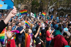 Supporters chant 'yes' when asked if they want marriage equality legislation