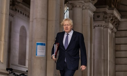 Boris Johnson at the British Foreign and Commonwealth Office, London, on 13 October 2020.