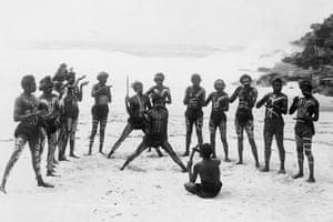 Wild Australia performers on Bondi beach, December 1892