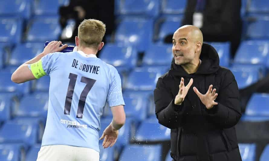An animated Pep Guardiola gives Kevin De Bruyne some instructions during Manchester City's 2-1 win against Borussia Dortmund in their quarter-final first leg