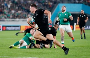 George Bridge is in the clear to score another try for New Zealand.