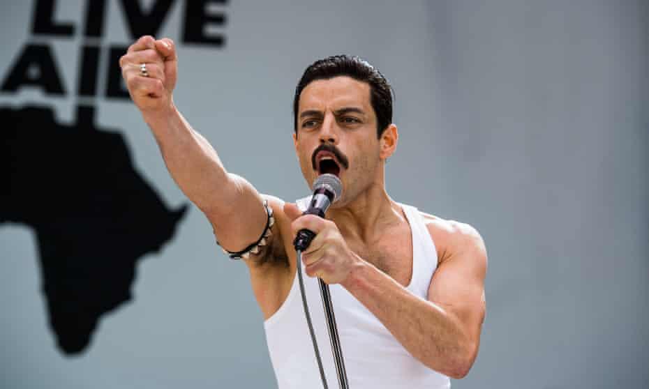 Terrible in a bombastically entertaining way ... Rami Malek in Bohemian Rhapsody.