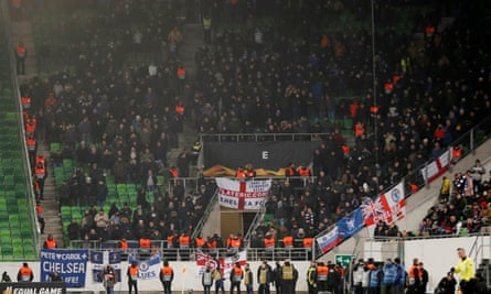 Chelsea's travelling supporters during the Europa League group match against Vidi in Budapest last month