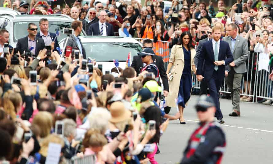 The duke and duchess outside Government House in Melbourne
