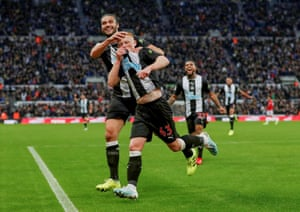 Newcastle's Matthew Longstaff celebrates with Andrew Carroll after scoring the only goal of the game to beat Manchester United 1-0 at St James' Park.