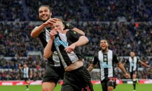 Matthew Longstaff celebrates scoring for Newcastle.