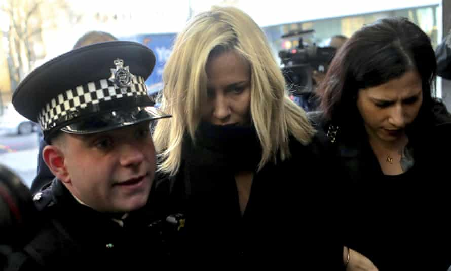 Caroline Flack (centre) arrives at Highbury Corner magistrates court in north London