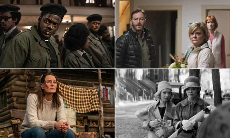 Clockwise from top left: Daniel Kaluuya, centre, with Darrel Britt-Gibson and Lakeith Stanfield in Judas and the Black Messiah; Jason Isaacs, Martha Plimpton and Breeda Wool in Mass; Ruth Negga and Tessa Thompson in Passing; Robin Wright directs and stars in Land.