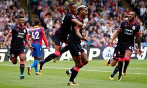 Steve Mounié celebrates scoring Huddersfield's second goal against Crystal Palace.