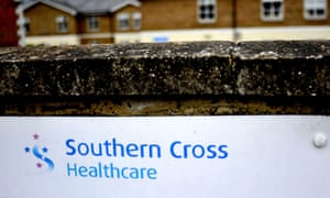 Sign outside Southern Cross healthcare home