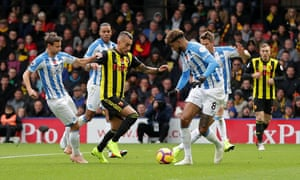 Roberto Pereyra waltzes through the Huddersfield defence on his way to scoring Watford's first goal as they secured their sixth win in 10 league games.