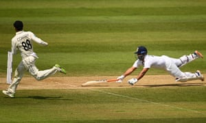Rishabh Pant of India survives a run out attempt from Devon Conway.