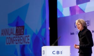 Theresa May addresses the CBI conference
