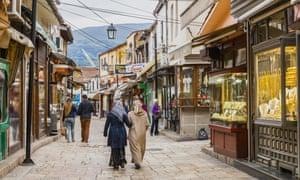 The cobbled streets of Skopje's Old Bazaar area.