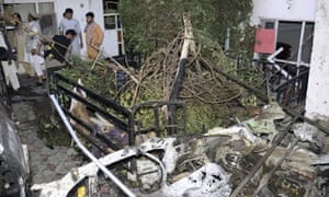 A destroyed vehicle is seen inside a house after a US drone strike in Kabul, Afghanistan, 29 August.