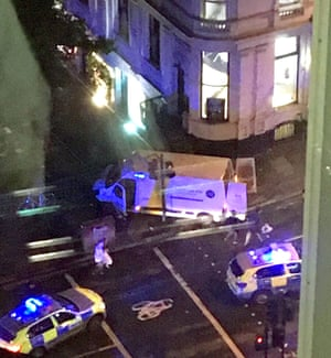 Emergency services surround a van thought to have struck pedestrians on London Bridge.