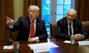 Donald Trump with John Kelly in October. Chuck Schumer said dealing with the White House was like 'negotiating with Jell-O'.