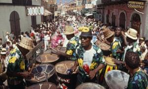 """a calypso band on Main Street"""