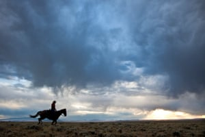 A rider crosses the high desert in Wyoming along the Pony Express trail