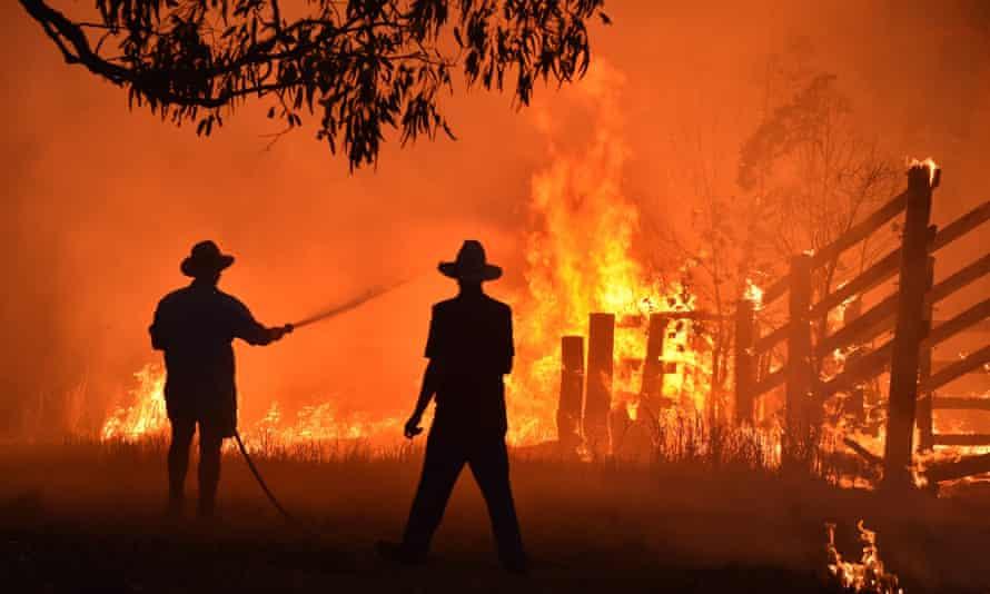 Bushfire in Hillville near Taree, New South Wales.