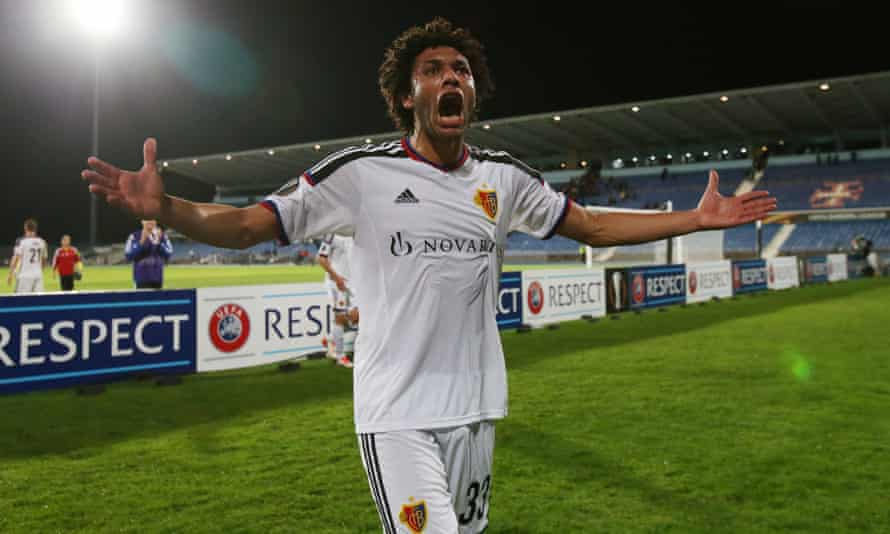 Mohamed Elneny celebrates at the end of Basel's Europa League match with Os Belenenses in November 2015.