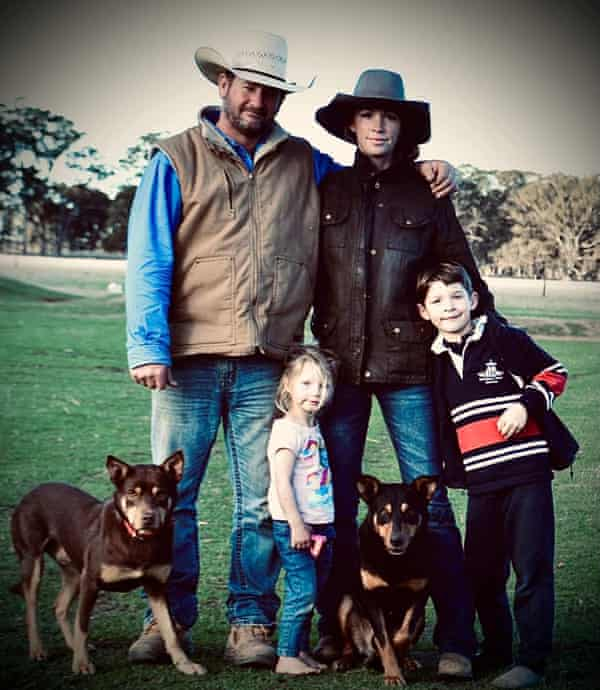 Trainers David and Sarah Lee with their kids and their dogs. Eulooka Hoover is on the left.