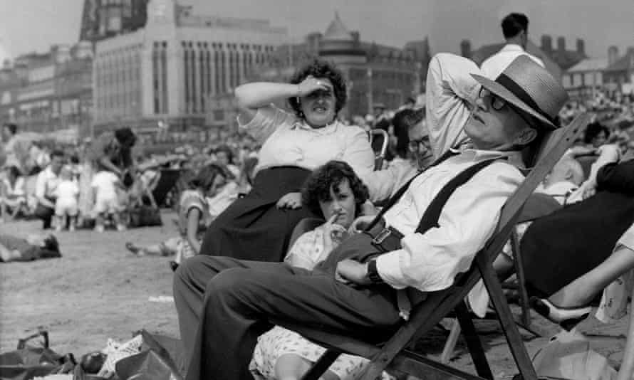 A family on the beach at Blackpool in the 1950s