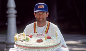 Graham Gooch 'celebrates' his 100th Test match. He played despite being ill, and was stumped after an inattentive blunder.