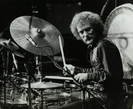 Ginger Baker performing at the Forum theatre, Hatfield in 1980.