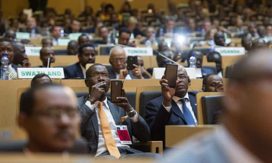 African leaders listen to the US president at the African Union headquarters.