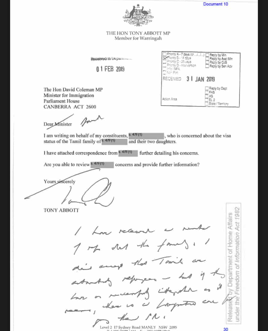 A handwritten letter from Tony Abbott to the then immigration minister in 2019