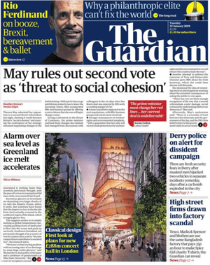 Guardian front page, Tuesday 22 January 2019