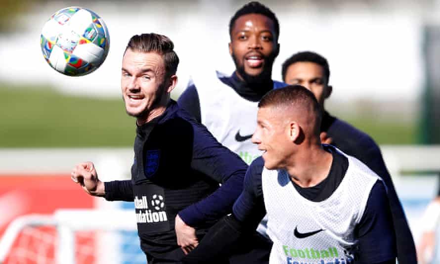 James Maddison (left) in England training with Nathaniel Chalobah (centre) and Ross Barkley.